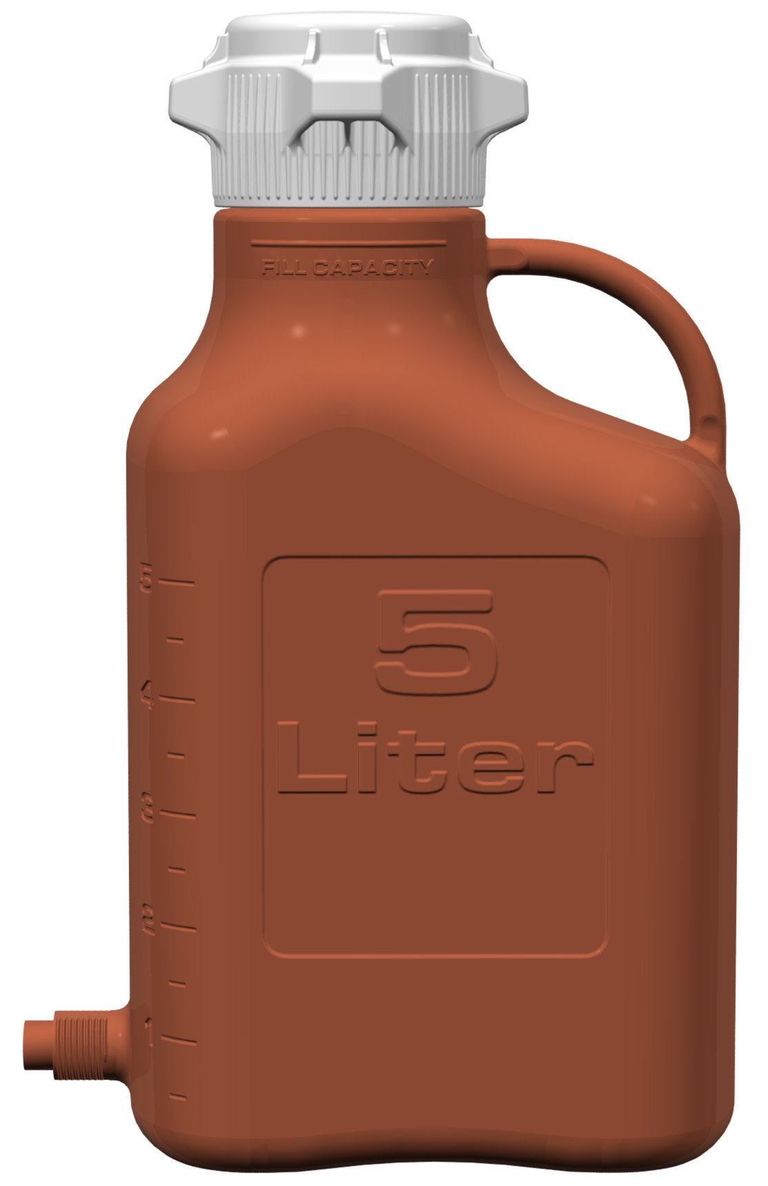 EZgrip 5L (1 Gal) Light Blocking Amber HDPE Space Saving Carboy with Leakproof Spigot, 83mm (83B) VersaCap and 6.9L Max Capacity
