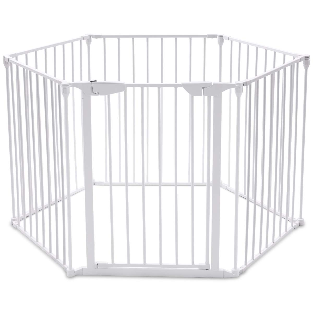 Costzon Baby Safety Gate, 4-in-1 Fireplace Fence, Wide Barrier Gate with Walk-Through Door in Two Directions, Add/Decrease Panels Directly, Wall-Mount Metal Gate for Pet & Child, Door (White, 6-Panel)