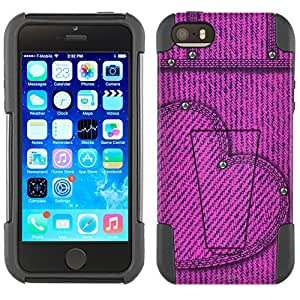 Apple iPhone 5 Hybrid Case Blushing Heart Jeans 2 Piece Style Silicone Case Cover with Stand for Apple iPhone 5 and 5S