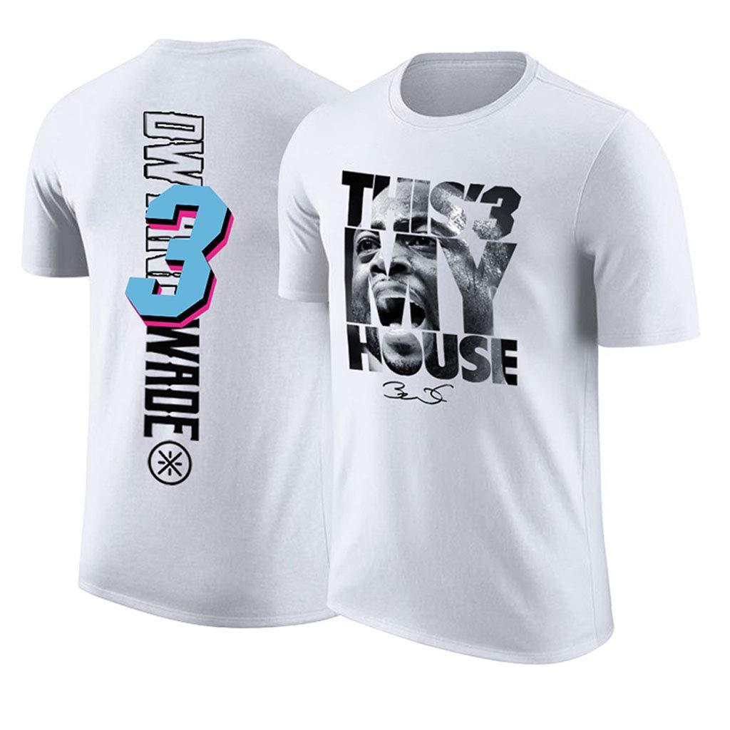 Miami Heat Dwyane Tyrone Wade M/änner Jersey Kurzarm T-Shirts Basketball Training Laufsport Fit Oberteile Sport Herren Fitness T-Shirt