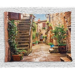 Ambesonne Tuscan Decor Tapestry, View of an Old Mediterranean Street with Stone Rock Houses in Italian City Rural Culture Print, Wall Hanging for Bedroom Living Room Dorm, 80 W X 60 L inches, Multi