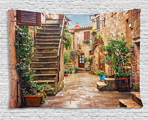 Tuscan Decor Tapestry by Ambesonne, View of an Old Mediterranean Street with Stone Rock Houses in Italian City Rural Culture Print, Wall Hanging for Bedroom Living Room Dorm, 80 W X 60 L Inches, (Italian Tapestry Wall Hanging)