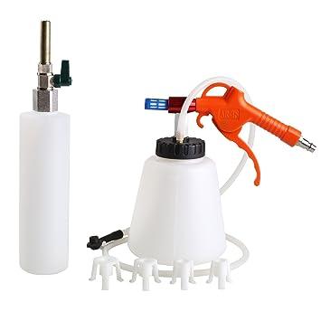 FIXKIT Purgador de Frenos Kit de Bomba Manual de Freno Neumático Dispositivo Botella de Aire Comprimido: Amazon.es: Coche y moto
