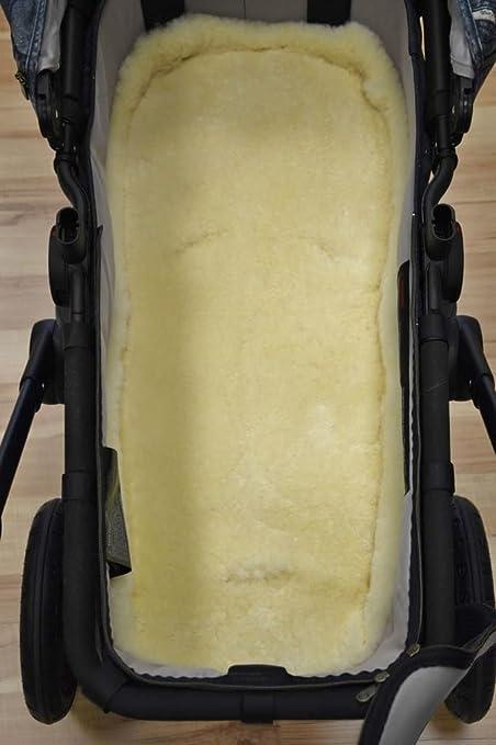 Babyfell Lammfell Einlage für Kinderwagen/Buggy/Kindersitz 80 x 40cm mit Gurtschlitzen