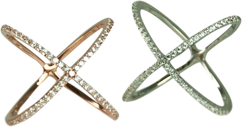 "HamptonGems Designer Inspired Sterling Silver .925 Pave Crystal /""X/"" Ring"