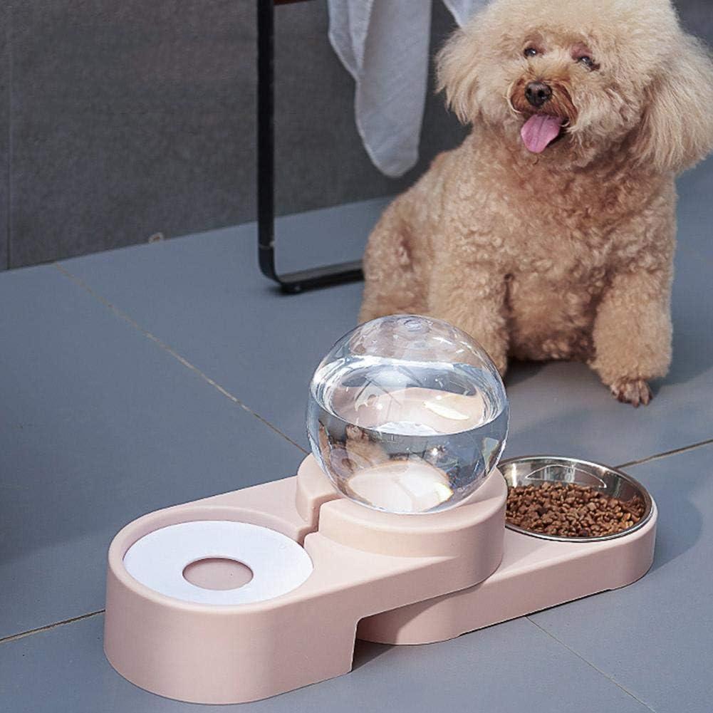 fllyingu Dispensador de Agua y Comida 2 en 1, dispensador de Agua Duo para Perros y Gatos, Agua Potable, el Extractor de Bolas de Doble Uso, Cuenco de Acero Inoxidable extraíble: Amazon.es:
