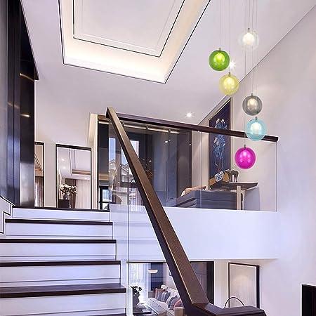 6 luces Dúplex Escalera de la lámpara creativa de la lámpara moderna Luz pendiente minimalista LED