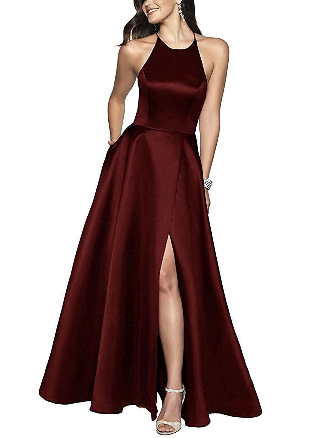 Burgundy ZLQQ Womens Halter Beaded Prom Dress Long with Pockets Slit Beach Wedding Evening Gowns