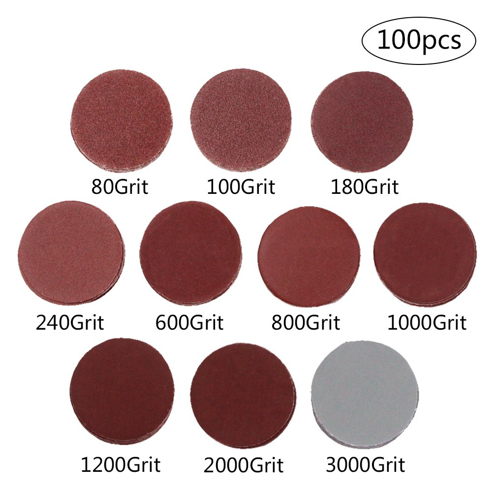 Coceca 2 Inches 100pcs Sanding Discs Pad Kit for Drill Grinder Rotary Tools with Backer Plate a Quarter Inch Shank Includes 80-3000 Grit Sandpapers: Industrial & Scientific