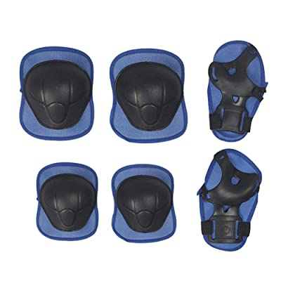 meiyuan Kids Knee Pads Set, 6 in 1 Kit Protective Gear Knee Elbow Pads with Adjustable Wrist Guards Toddler Children Protection Safety for Rollerblading BMX Bike Bicycle Blue: Toys & Games