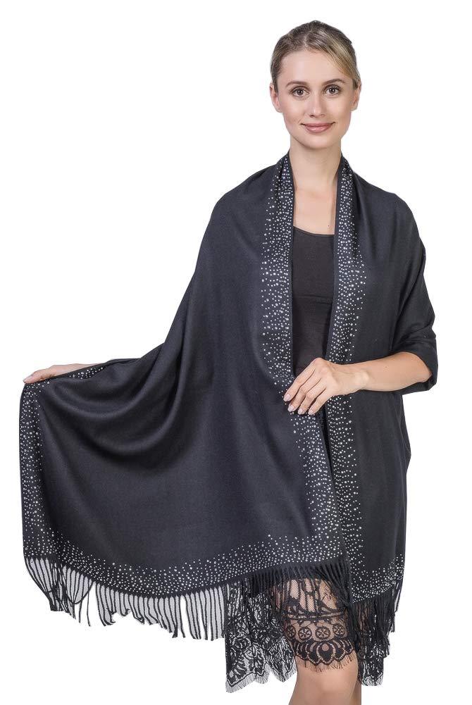 Niaiwei Cashmere Scarf Blanket Large Soft Pashmina Shawl Wrap For Men and Women (Diamond-ironing Black)