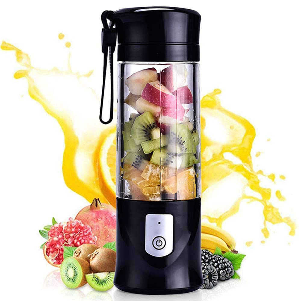 Portable Mini Travel Fruit USB Juicer Cup, Personal Small Electric Juice Mixer Blender Machine with 4000mAh Rechargeable Battery-420ML Water Bottle (Black) by XMX