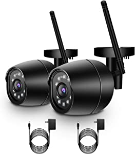 Security Camera Outdoor, GOAOFOEOI 1080P WiFi Wireless Camera IP65 Waterproof Home Surveillance Camera IP Cam Two-Way Audio, Night Vision, Motion Detection Alert, SD Card Cloud, Works with Alexa 2pc