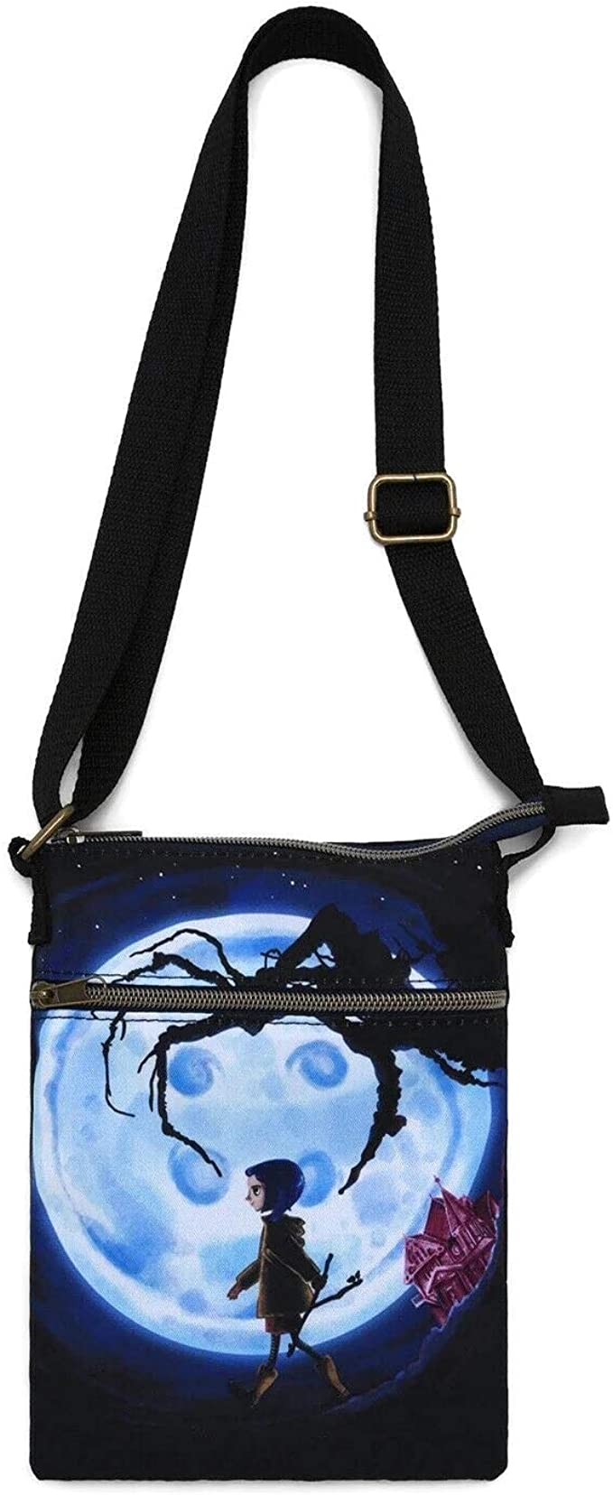 Amazon Com Loungefly Coraline Button Moon Passport Crossbody Bag Clothing