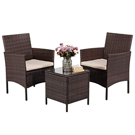 Pleasant Yaheetech 3 Pieces Patio Furniture Sets Pe Rattan Wicker Chairs Beige Cushion With Table Outdoor Garden Brown Home Interior And Landscaping Ponolsignezvosmurscom