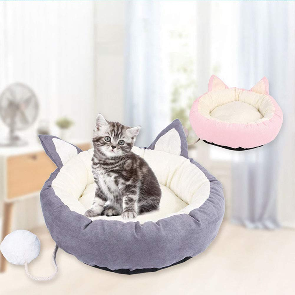 FDFERRT Give Your Pet A New Toy Plush Pet Dog Cat Nest Soft Winter Puppy Kitten Warm Round House Bed Supplies (color   Pink M)