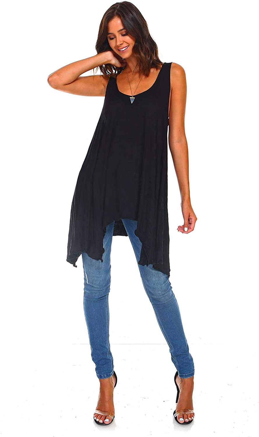 Made in USA Regular and Plus Size Simplicitie Womens Sleeveless Swing Flare Tunic Dress Tank Top