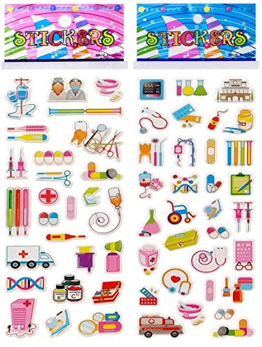 6 Sheets Puffy Dimensional Scrapbooking Party Favor Stickers + 18 FREE Scratch and Sniff Stickers - DOCTOR, NURSE