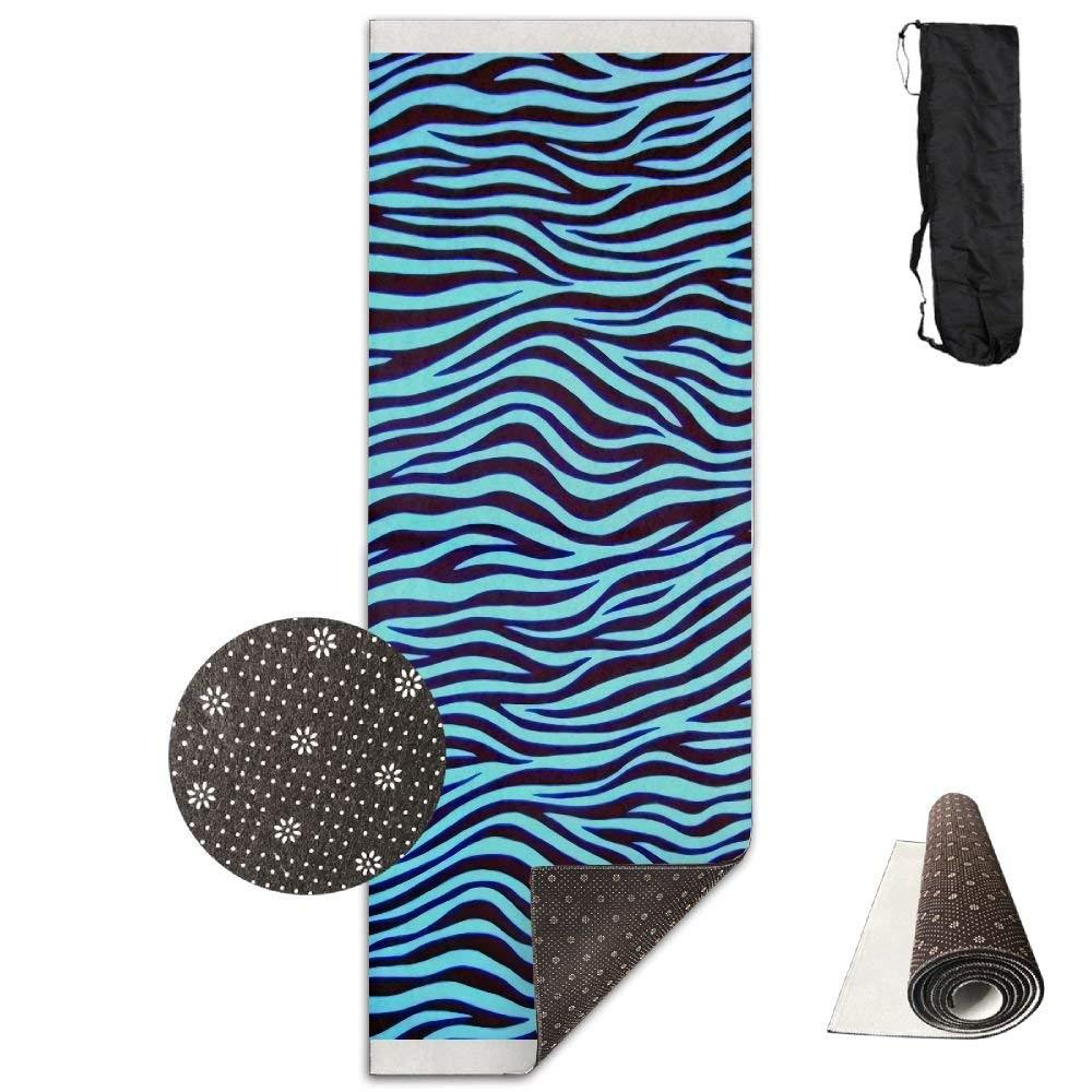 Trippy Turquoise Zebra Stripe Deluxe,Yoga Mat Aerobic Exercise Pilates Anti-slip Gymnastics Mats