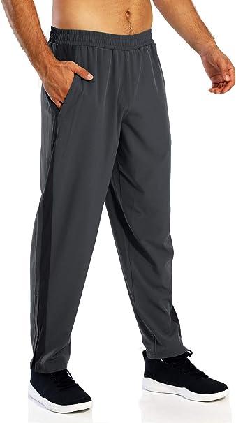 VANVENE Mens Joggers Lightweight Tracksuit Bottoms Open Hem Jogging Trousers Comfortable with Zip Pockets Loose