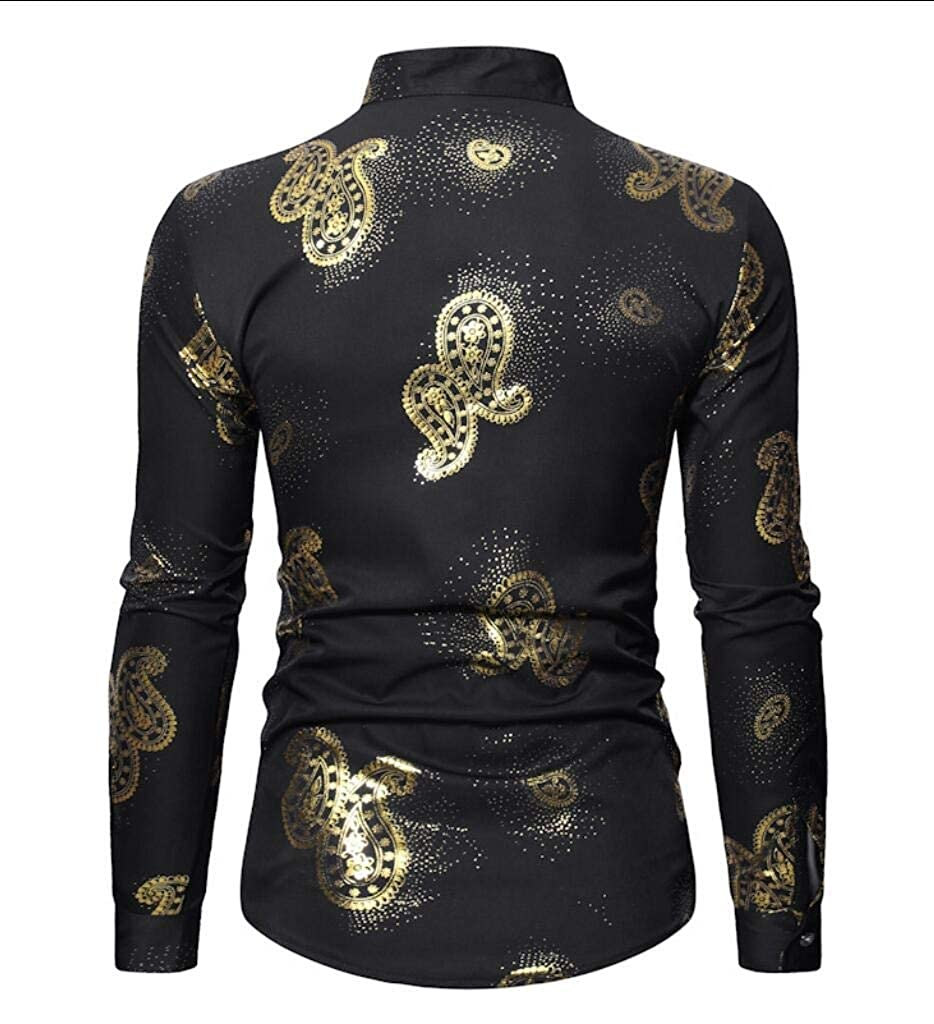 Zimaes-Men Button Down Long-Sleeve Lapel Slim Fit Printed Shirt