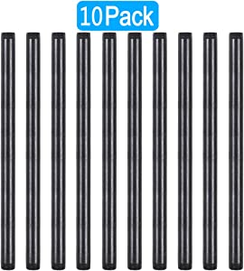 GOOVI 3/4 Inches x 16 Inches Black Malleable Steel Pipe Fitting, 3/4 Inches Black Pipe Threaded Pipe Nipples, Build Vintage DIY Shelving Steampunk Furnitur, 10 Pack.