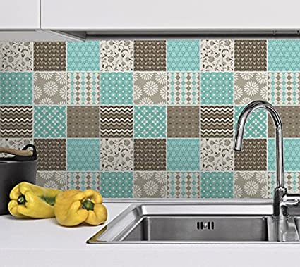 Blue Kitchen Tiles >> Tiles Stickers Decals Packs With 36 Tiles 5 9 X 5 9 Inches 15 X 15 Cm Wall Tiles Decoration Brown Blue Patchwork Stickers For Kitchen
