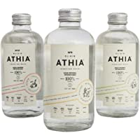 ATHIA es agua de manantiales profundos, ligeramente carbonatada e infusionada con delicadas notas de frutas y botánicos naturales. Sampler de 3 Sabores (Caja de 6)