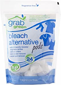 Grab Green Natural Bleach Alternative Pods, Non-Chlorine Bleach, Fragrance Free, Unscented/Free & Clear, 24 Loads