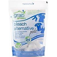 Grab Green Natural Bleach Alternative Pods, Non-Chlorine Bleach, Fragrance Free, Unscented/Free & Clear, 24 Loads