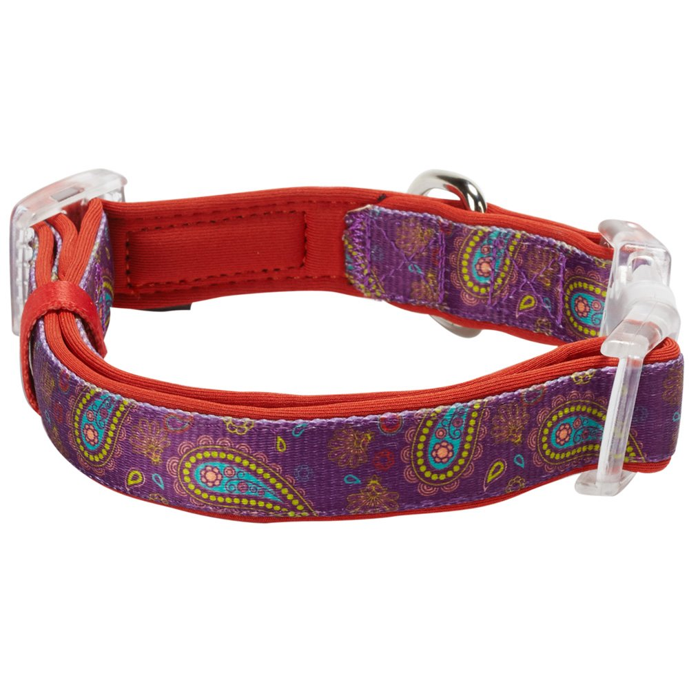 Home collars blueberry pet dog collar nautical flags inspired - Blueberry Pet Soft Comfy Paisley Flower Print Red Violet Adjustable Neoprene Padded Dog Collar Neck 37cm 50cm Medium Collars For Dogs Amazon Co Uk