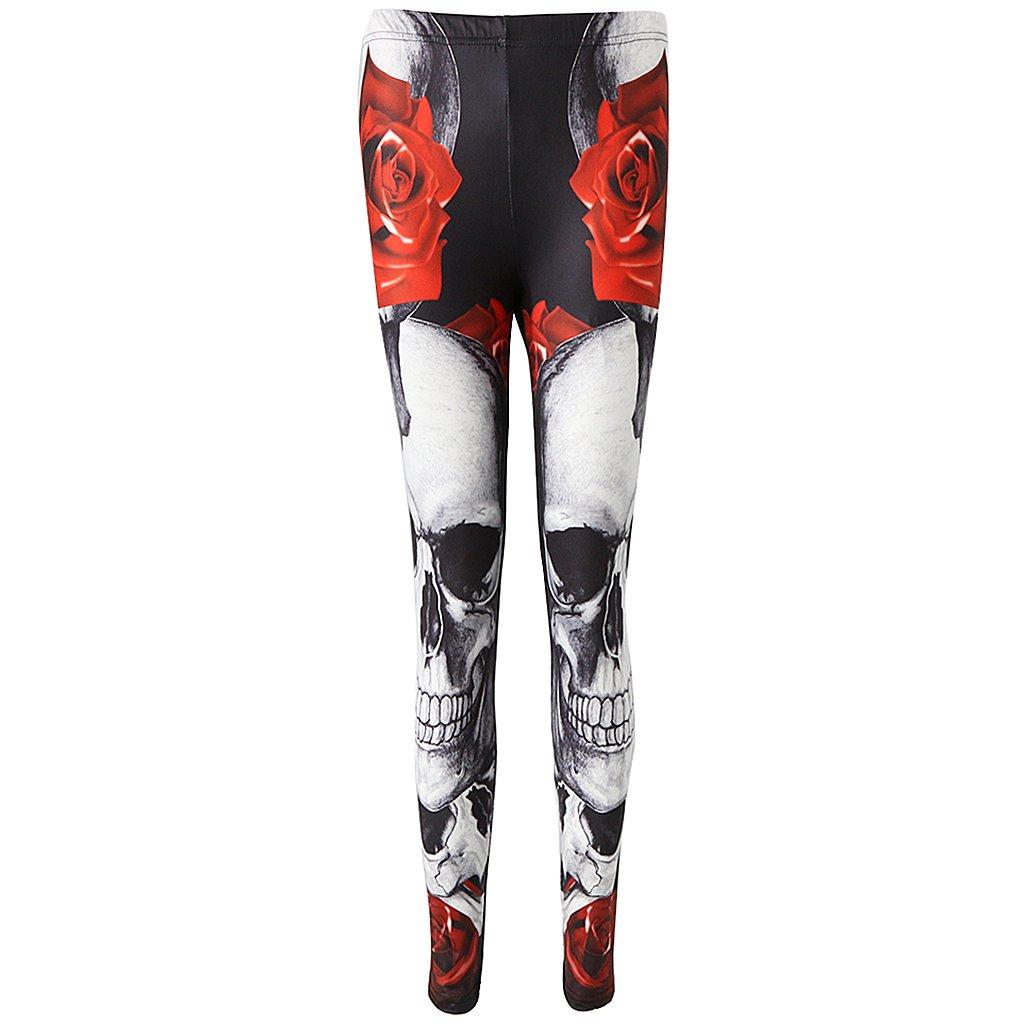 Gazechimp Legging Femme Sexy Pantalon sports Print Tête de Mort Extensible  Perméable à l air - Rouge 37a8cafc983