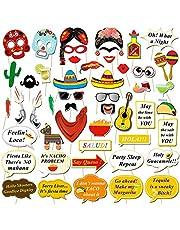 Howaf Fiesta Mexicana Photo Booth Props Cabina de Fotos Accesorios Photocall Gafas máscara Sombreros para Cinco de Mayo Mejicano Fiesta de cumpleaños Boda Carnaval decoración Suministros (56pcs)