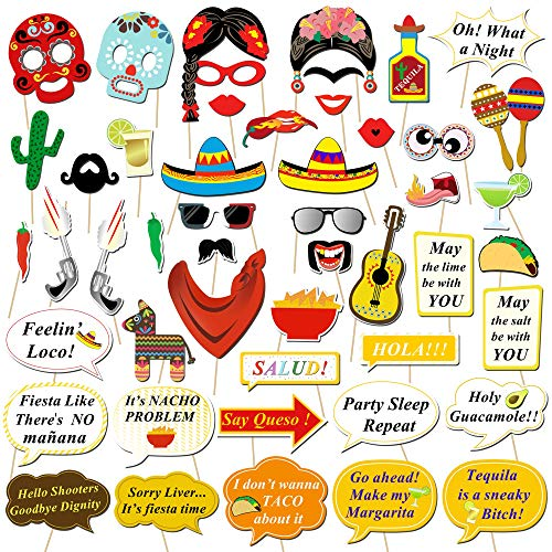 Konsait Mexican Fiesta Photo Booth Props, Funny Photo Booth Selfie Props for Mexican Birthday Wedding Bachelorette Fiesta Themed Party Favors Supplies Decorations (50 -