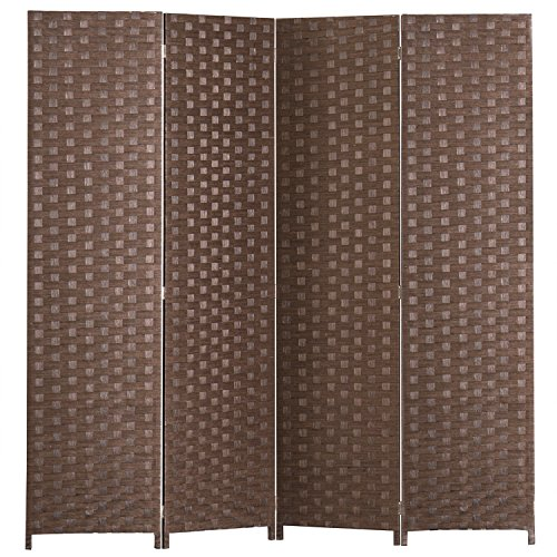 MyGift 4 Panel Hinged Room Divider, Woven Paper Rattan Privacy Screens, Brown