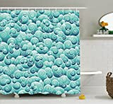Ambesonne Teal Decor Collection, Spirals Swirl Patterns Abstract Waves Wind Ornamental Decorating Artwork Print, Polyester Fabric Bathroom Shower Curtain Set with Hooks, Teal Turquoise