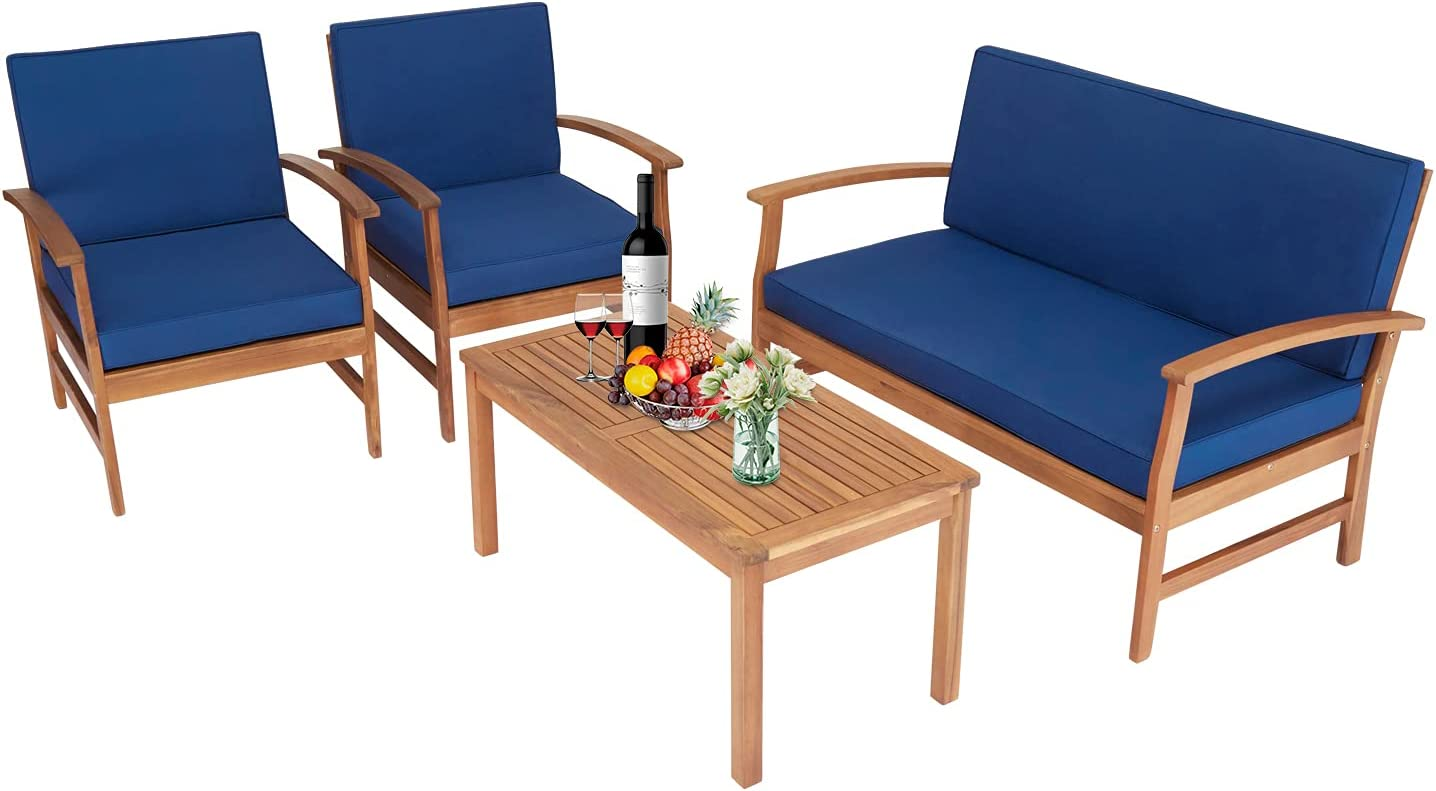 Kinsuite 4Pcs Outdoor Conversation Acacia Wood Sofa Set with Cushions Coffee Table, Patio Furniture Chairs for Garden Backyard Poolside Pool Navy Blue