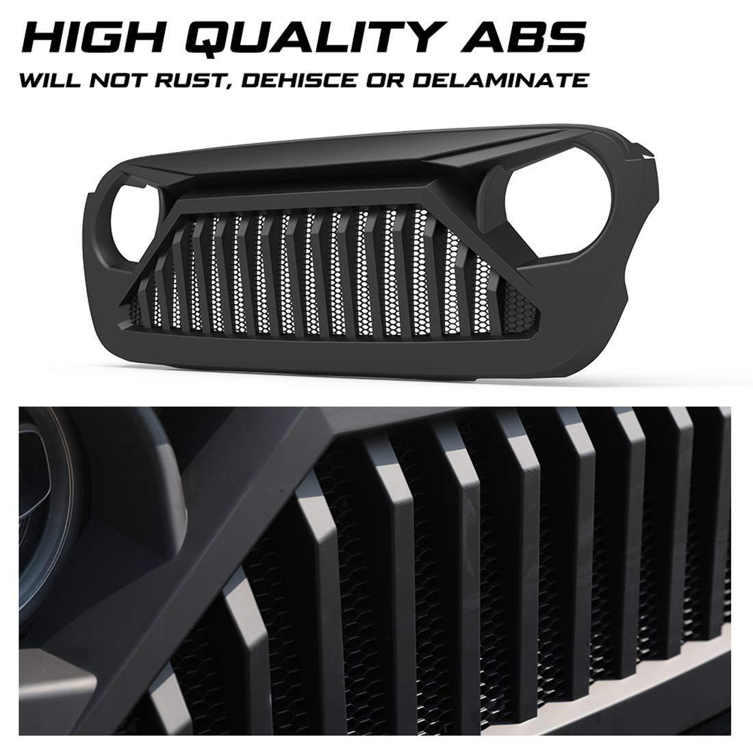 L/&U Maglia Pre griglia di griglia Anteriore Nera Pre-aggiornamento per Jeep Wrangler JL//JLU 2018-2019