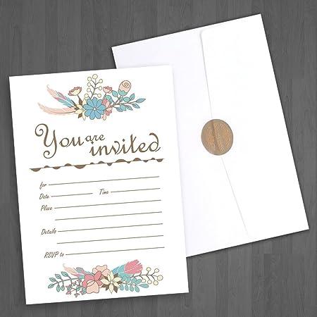 jofanza llenar en tarjetas de invitación Pack de 50 invitaciones de boda con sobres marfil nupcial bebé ducha fiesta de cumpleaños cena invita compromiso graduación, sobres: Amazon.es: Hogar
