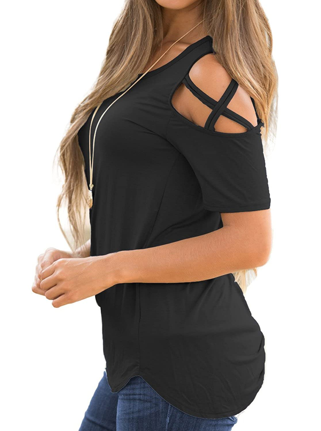 bf971ef94a5 Adreamly Womens Loose Strappy Cold Shoulder Tops Basic T Shirts at Amazon  Women's Clothing store: