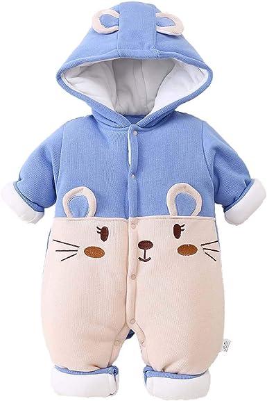 Bebé Mamelucos con Capucha Outfits Traje de Invierno Algodón Ropa Manga Larga Abrigo Niñas Niños 0-12 Meses: Amazon.es: Ropa y accesorios