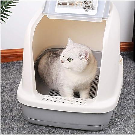 CLDZ-Haustierbett Caja De Arenero para Gatos Doble Tipo Cajón Desodorante Inodoro para Gatos Completamente Cerrado Suministros para Gatos Antisalpicaduras Grandes (Color : Gris): Amazon.es: Hogar