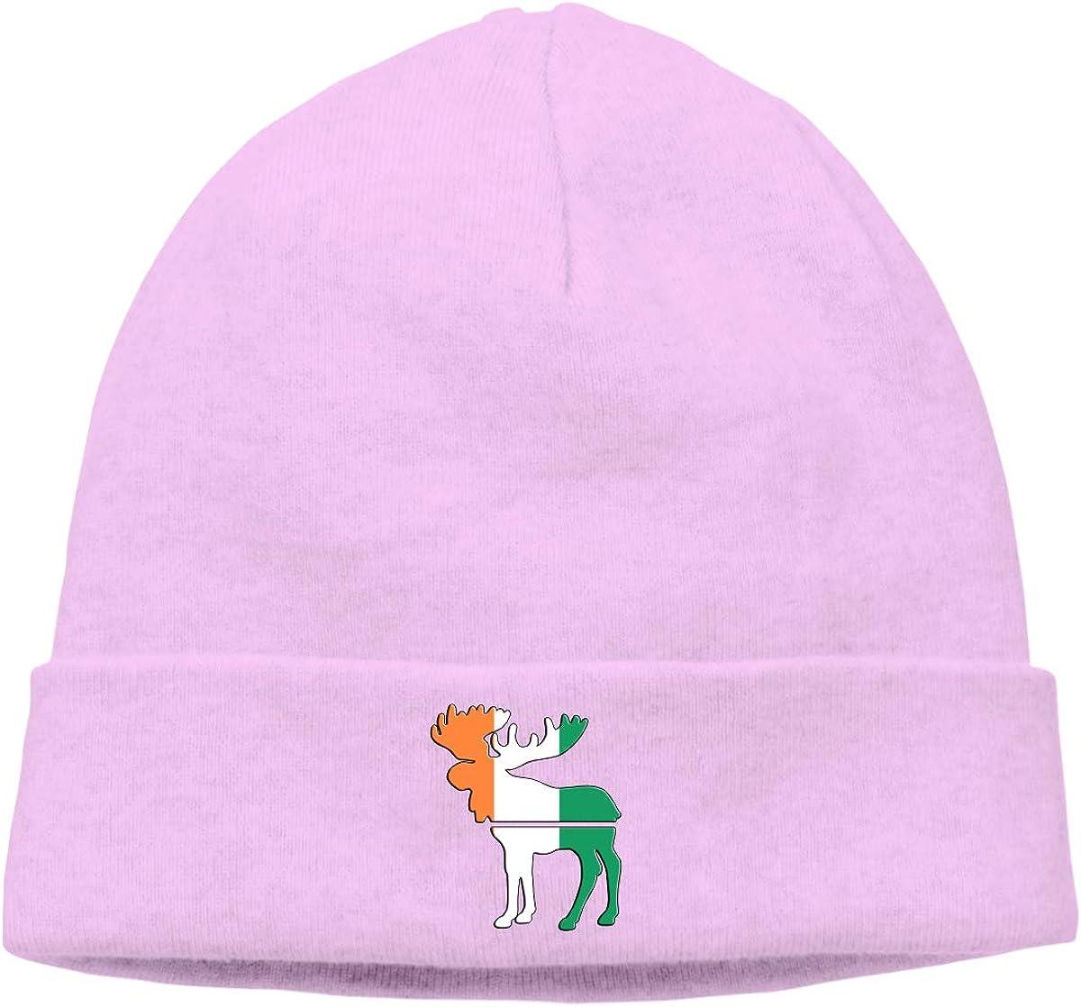 BBlooobow Mens/&Womens Moose Irish Flag Soft Skull Cap