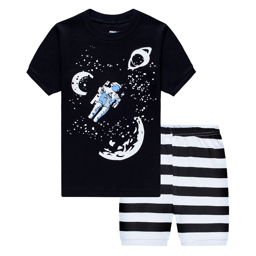 Csbks Little Boys Pajama Sets Toddler Cotton Sleepwear Summer Short Graphic PJS 3T Outer Space