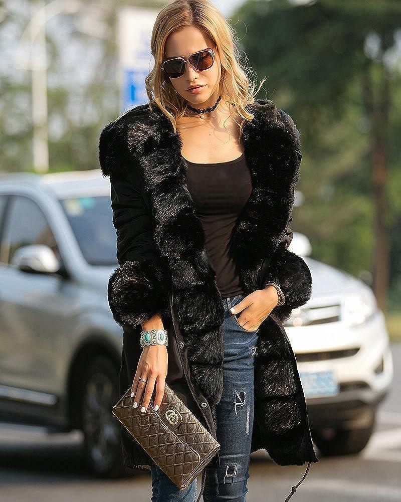 Aofur Women Ladies Hooded Parka Faux Fur Jacket Thicken Warm Winter Coat Overcoats Plus Size 8-20