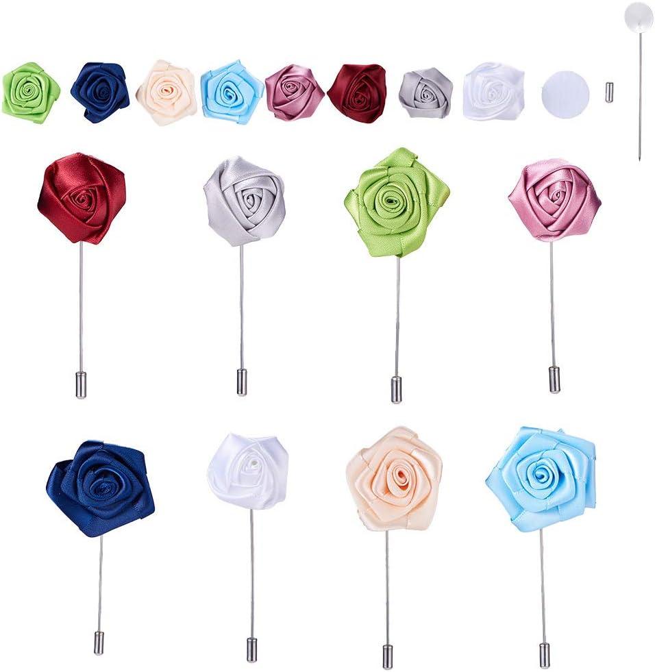 nbeads 8 Pcs /à la Main Tissu Rose Fleur Boutonni/ère Broche avec Broche en Acier Constats Broche Artisanat Fournitures pour DIY Broche Faire Adultes Costume de Laine D/écor de Noce
