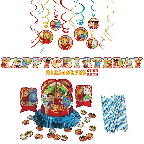 Daniel Tiger's Neighborhood Party Decorations Party Supplies Pack: Straws, Table Decorating Kit, Hanging Swirls, and Banner