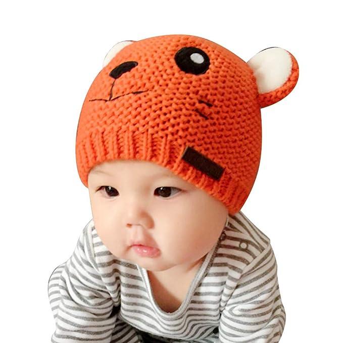 948084f64b5 Amazon.com  IMLECK Kids Winter Warm Fleece Lined Knit Tiger Head Hat ...