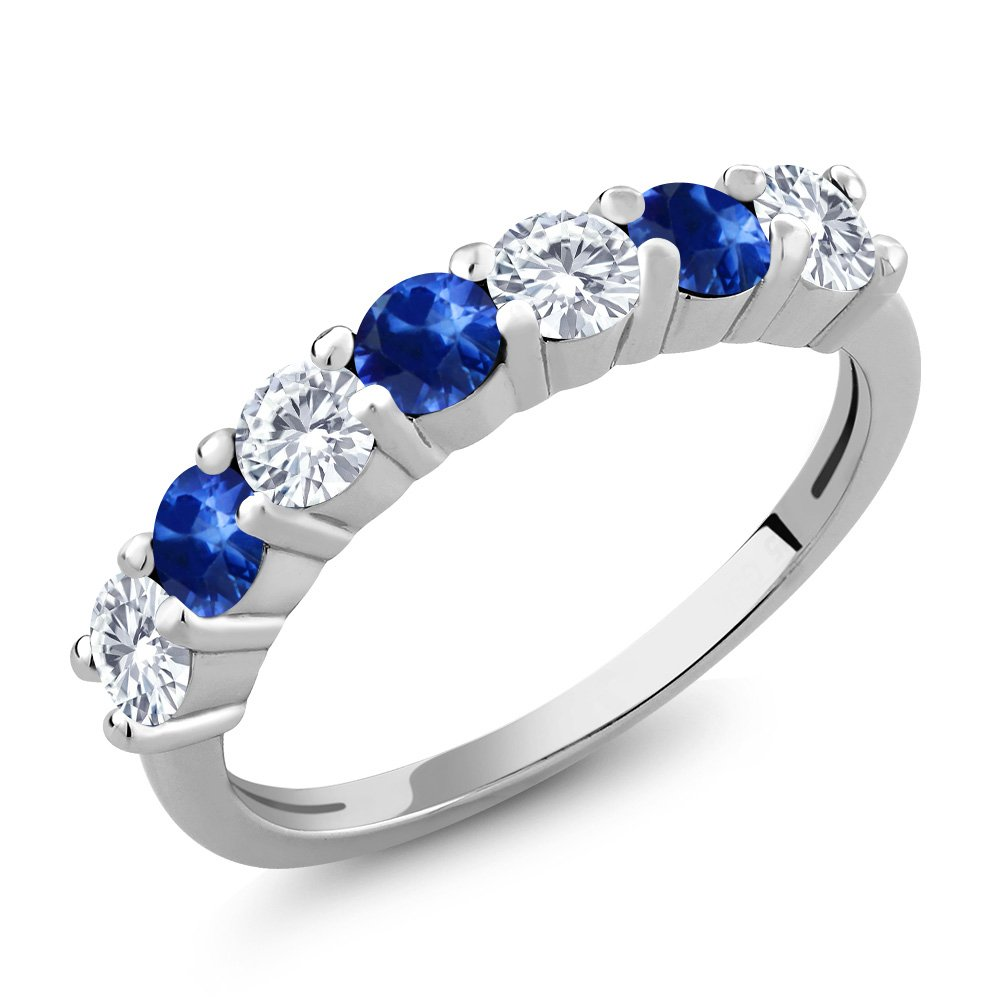 1.28 Ct Round White Created Moissanite and Blue Sapphire 925 Sterling Silver 7-Stone Women's Band Anniversary Ring (Ring Size 6)