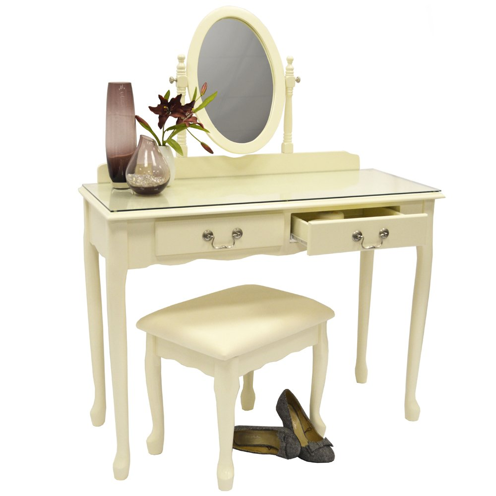 LOIRE   Solid Wood Dressing Table With Mirror And Stool   Cream:  Amazon.co.uk: Kitchen U0026 Home